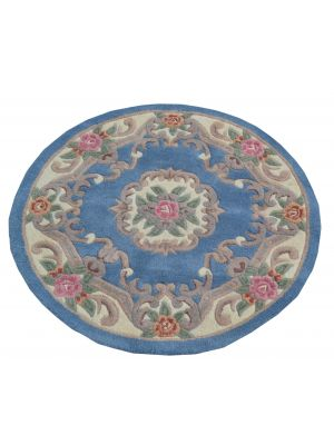 Hand Carved Wool Rug - Avalon - Blue - 120x120cm