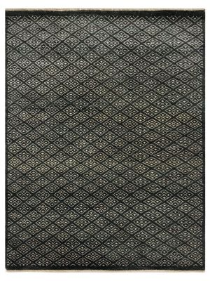 Designer Handknotted Wool Rug - New York - Charcoal - 91x158cm