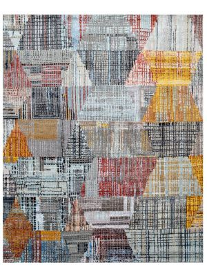 Handknotted Abstract Bamboo Silk and Wool Rug - 074 - Multi Silver - 246x300cm