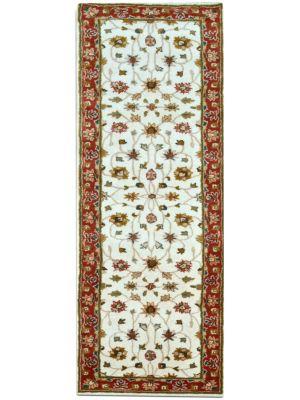 Evergreen Kashan Handmade Woolen Runner Rug - 902 - Cream/Rust - 80x300cm