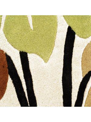 Handmade Botanical Wool Rug - 5055 - Beige - 60x120
