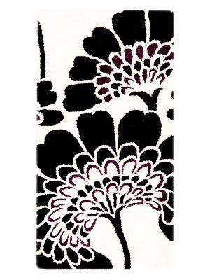 Handmade Botanical Wool Rug - 5058 - Ivory/Black - 60x120