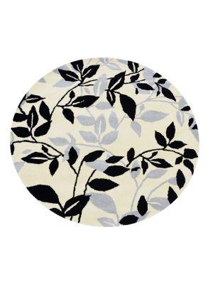 Designer Handmade Round Wool Rug - 5065 - Ivory/Black - 150x150