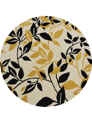 Designer Handmade Round Wool Rug - 5065 - Ivory/Gold - 150x150