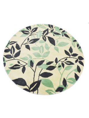 Designer Handmade Round Wool Rug - 5065 - Ivory/Grey - 150x150