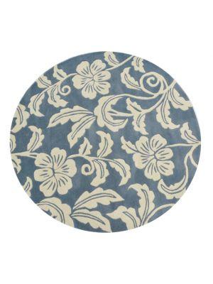 Designer Handmade Round Wool Rug - 5066 - Blue - 150x150