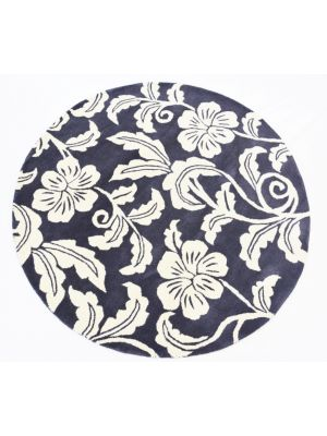 Designer Handmade Round Wool Rug - 5066 - Charcoal - 150x150