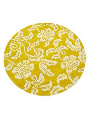 Designer Handmade Round Wool Rug - 5066 - Yellow - 150x150cm