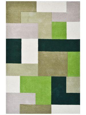Designer Blocks Handmade Wool Rug - 6227 - Green - 190x280cm