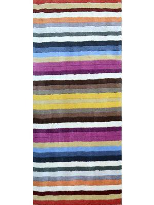 Trendy Multicolour Handmade Striped Wool Rug - 1054 - Multicolour - 80x300cm