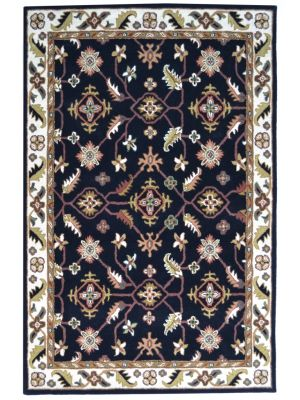 Handmade Floral Wool Rug - Kashan1- Black/Cream - 110x160cm