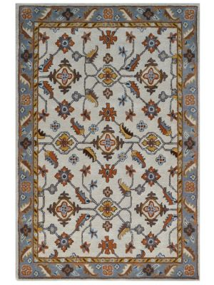 Beautiful Handmade Wool Rug - Kashan1- Cream/Grey - 60x120