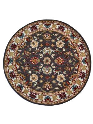 Handmade Floral Wool Rug - Kashan2- Grey/Cream - 160x160cm