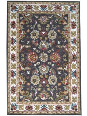 Beautiful Handmade Wool Rug - Kashan2 - Grey/Cream - 190x280