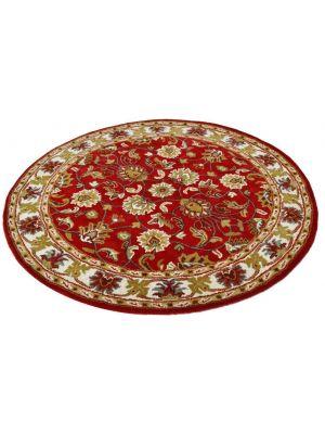 Handmade Floral Wool Rug - Kashan2- Red/Cream - 160x160cm