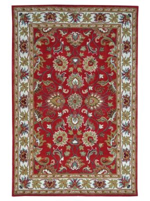 Handmade Floral Wool Rug - Kashan2- Red/Cream - 60x120cm