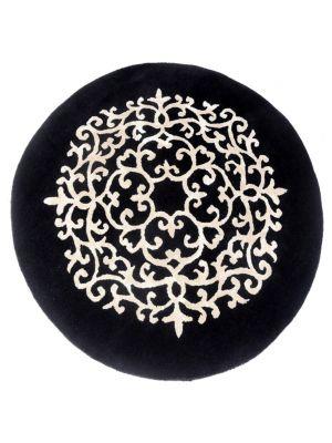 Luxurious Round Wool & Viscose Rug - Kashan 2019 - Grey/Beige - 150x150cm