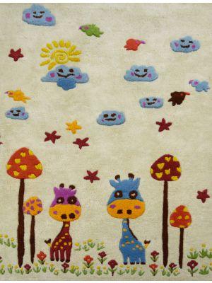 Handmade Kids Wool Rug - K-132 - Ivory/Multi - 110x160