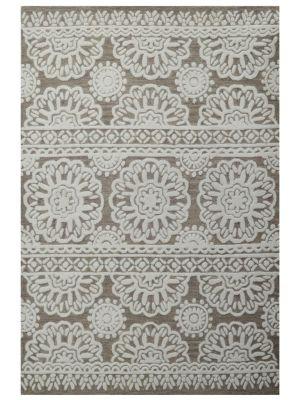 Modern Handmade Wool Rug - Mandala 6211 - Ivory/Brown - 190x280cm