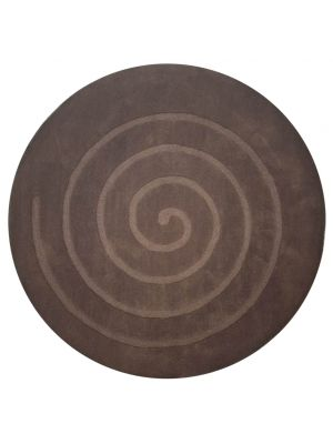 Round Wool Rug - Swirl - Brown - 160x160