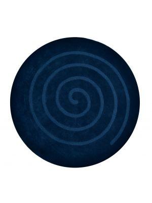 Handwoven Round Wool Rug - Swirl - Navy - 160x160cm