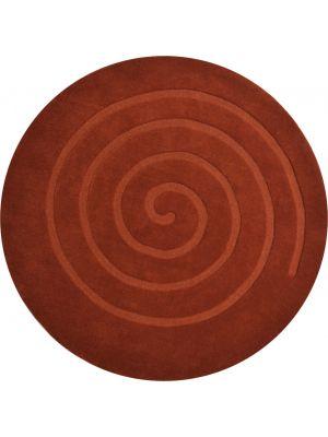 Handwoven Round Wool Rug - Swirl - Rust - 160x160cm