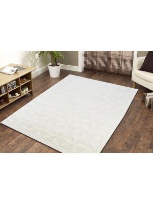 Contemporary Wool Rug - Triangle - Ivory - 110x160