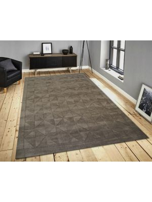 Contemporary Wool Rug - Triangle - Metallic Grey - 110x160