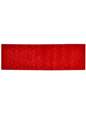 Handmade Contemporary Wool Rug - Triangle - Red - 80x300cm