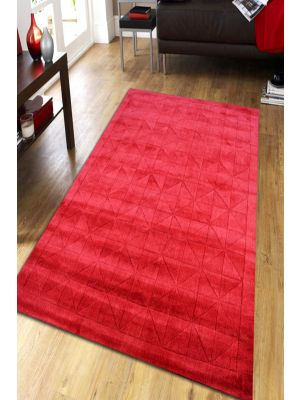 Contemporary Wool Rug - Triangle - Red - 110x160