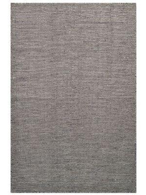 Modern Handwoven Wool Rug - Dotts - Natural/Beige Black - 155x220cm