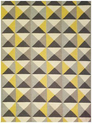 Geometrical Woollen Durrie Rug - Triangle 1005 - Yellow/Grey - 160x230cm