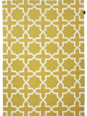 Geometrical Woollen Durrie Rug - 2003 - Yellow - 160x230cm