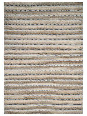 Designer Wool & Jute Rug - Vector M20038 - Natural/Grey - 110x160cm