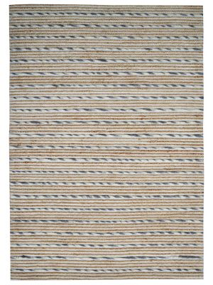 Hand Woven Wool & Jute Rug - Stripe-M20038 - Natural/Grey - 190x280