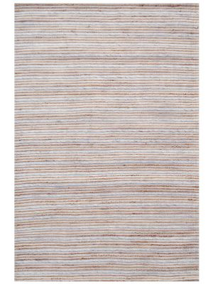Handwoven Bright Wool & Jute Rug - M20038 - Natural/Grey - 80x150cm