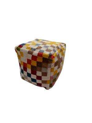 Handwoven Woollen Pouf - Pixel - Multi - 50X50cm