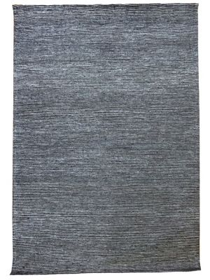 Fine Handwoven Wool Rug - Ridges - Charcoal - 110x160