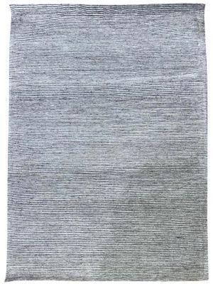Fine Handwoven Wool Rug - Ridges - Silver - 80x300