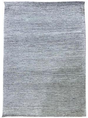 Fine Handwoven Wool Rug - Ridges - Silver - 160x230