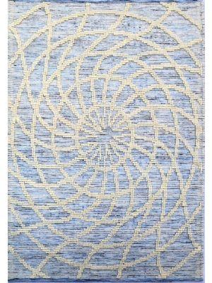 Designer Patterned Handwoven Woollen Rug - Zaal - Ivory/Blue-160x230cm