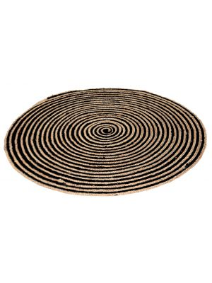 Tribal Handmade Round Jute Rug - 1037 - Natural/Black - 120x120