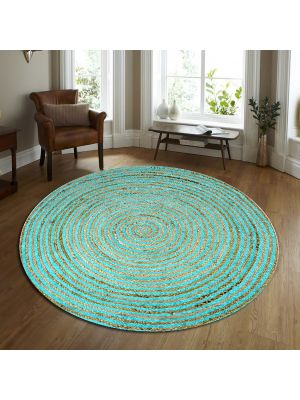 Handwoven Tribal Round Jute Rug - 1037 - Natural/Blue-120x120