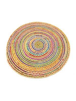 Tribal Round Handwoven Jute Rug - 1037 - Natural/Multi - 120x120cm