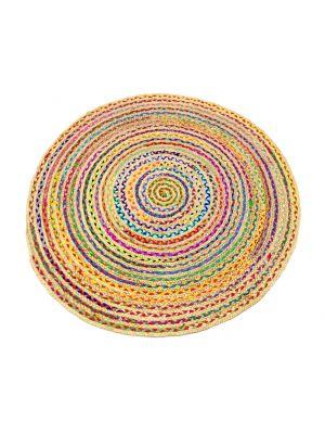 Tribal Handmade Round Jute Rug - 1037 - Natural/Multi - 100x100