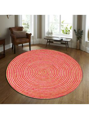 Handwoven Tribal Round Jute Rug - 1037 - Natural/Red-120x120
