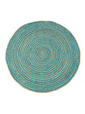 Tribal Round Handwoven Jute Rug  - 1037 - Natural/Sky Blue - 120x120cm