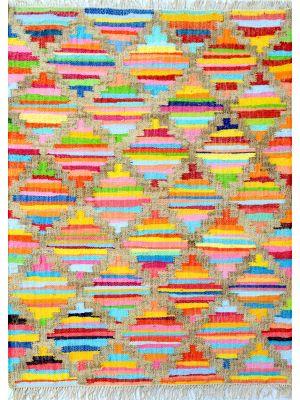 Peruvian Style Handwoven Cotton & Jute Rug - 2020 - Multi - 80x150cm