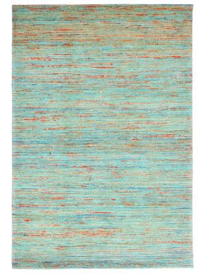 Hand Woven Jute & Silk Rug - Stripe 6001 - Natural/Aqua - 80x150