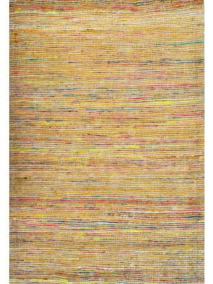 Hand Woven Jute & Silk Rug - Stripe 6001 - Natural/Gold - 80x150